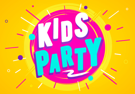 Vector Illustration Kids Party Graphic Design Template. Banner For Children Playroom Or Game Zone
