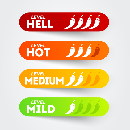 Vector illustration of hot red pepper starch icon set with mild, medium, hot and light positions