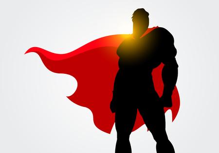 Vector Illustration Silhouette of a Superhero with a red cape posing Ilustração