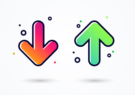 vector illustration arrow icon design - user feedback concept different mood emoticons icon positive and negative.