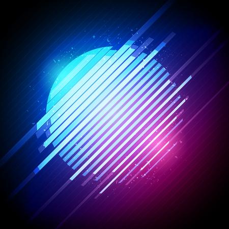 Vector illustration of retro 1980s glowing neon sun glitch distortion effect