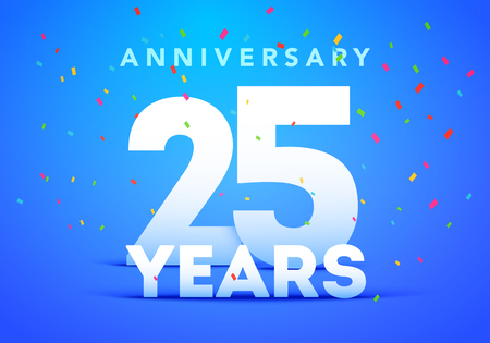 25 Years Anniversary celebration logo, vector design for banner, invitation card and celebration birthday party