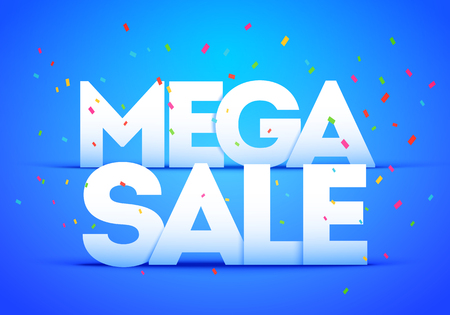Vector Illustration Mega Super Big Sale Poster. Bold Letter With Colorful Confetti