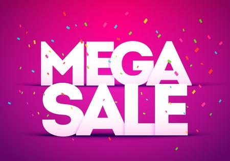 Vector Illustration Mega Super Big Sale Poster. Bold Letter With Colorful Confetti