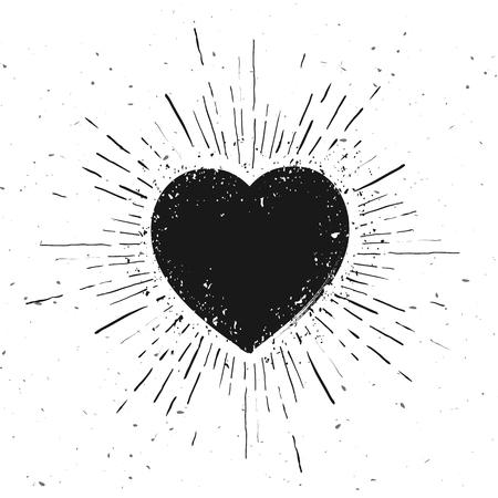 Vector Illustration Handdrawn Heart Icon Icon With Sunburst On Grunge Background Illustration