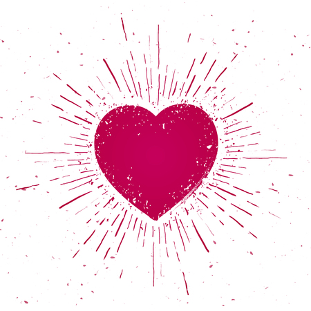 Vector Illustration Handdrawn Heart Icon Icon With Sunburst On Grunge Background Çizim