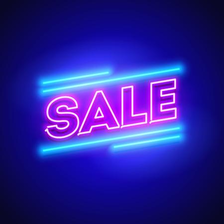 Vector Illustration Retro Sale Offer Neon Sign