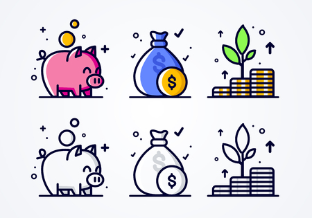Vector Thin Line Style Icon Set, Money Grow, Investment And Economizing