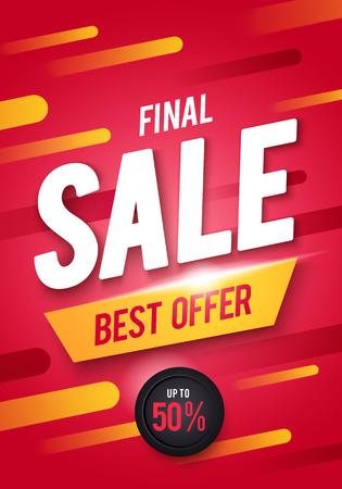 Vector illustration Final sale poster or flyer design. 3D word Sale on a colorful background Çizim