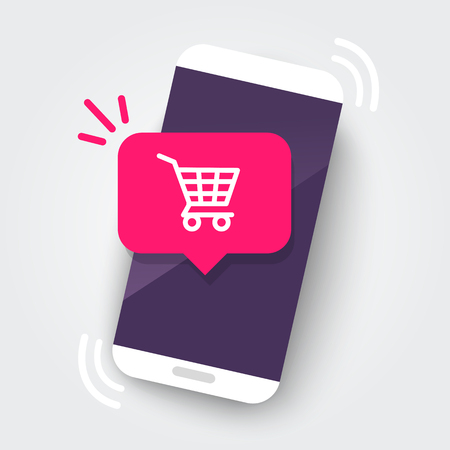Smartphone with shopping cart notification, new purchase, online store order with phone. Flat design UI / UX web element