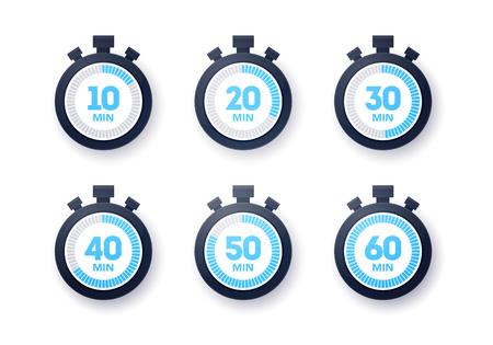 Illustration vectorielle 10 - 60 minutes Collection d'icônes de chronomètre. Ensemble de minuterie design plat Vecteurs