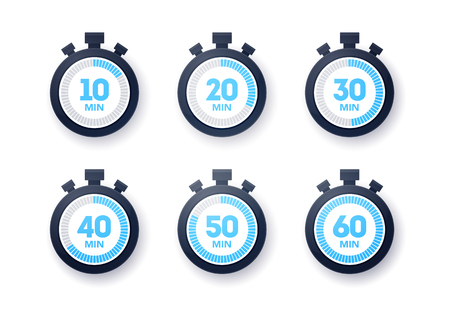 Vector Illustration 10 - 60 minutes Stopwatch Icon Collection. Flat Design Timer Set