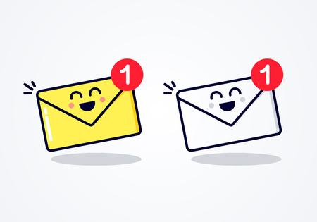 Notification de vecteur plat pour le nouveau message de la boîte de réception des e-mails avec une drôle de tête.