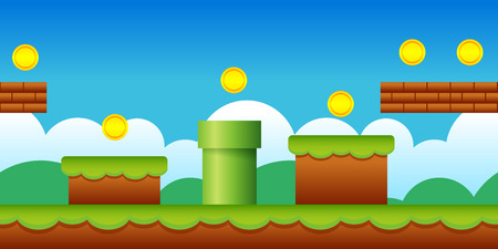 Vector Seamless Old Retro Video Game Background. Classic Style Game Design Scenery. Иллюстрация