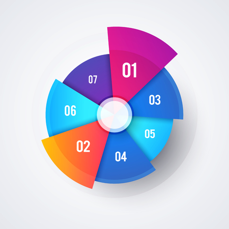 Vector Circle Pie Chart Design, Modern Infographic Template For Presentations And Reports Çizim