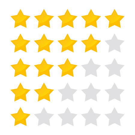 Vector illustration 5 star rating icon. Isolated badge collection for website or app Çizim