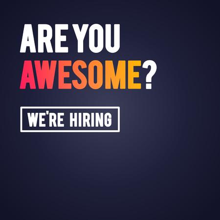Vektor-Illustration modern sind Sie großartig, wir stellen Recruitment-Design-Vorlage ein? Vektorgrafik