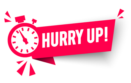 Vector Illustration Hurry Up Label With Alarm Clock Countdwon Icon, Promotion Icon Offers
