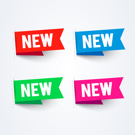 Vector Bright New Labels Set. Colorful Flag Collection.