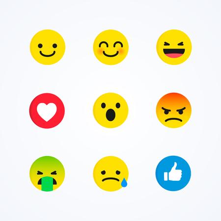 Vector Set of Flat Design Style Social Media Reactions Emoticon
