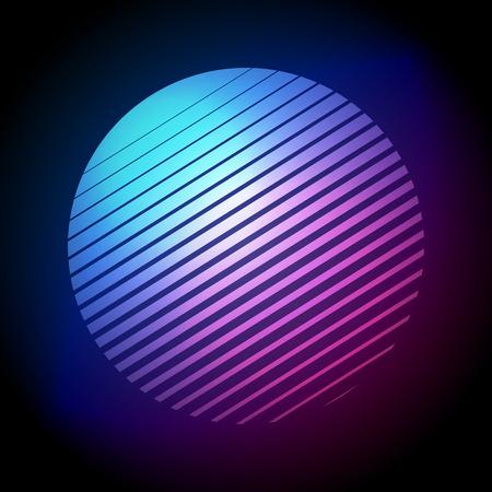 Vector Illustration Colorful 80s Retro Style Striped Shape. Minimalism Halftone Circle