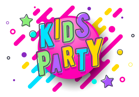 Vector Illustration Coloful Kids Party Banner Template. Çizim