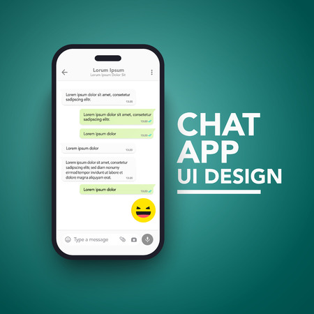 Vector Minimalist Mobile Chat App UI and UX Concept Theme. Mockup Smartphone Screen Template