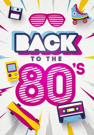 Vecteur de retour au fond rétro coloré des années 80. Modèle d'affiche et de bannière graphique des années 80.