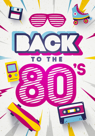 Vector Back to the 80s Colorful Retro Background. Eighties Graphic Poster And Banner Template.