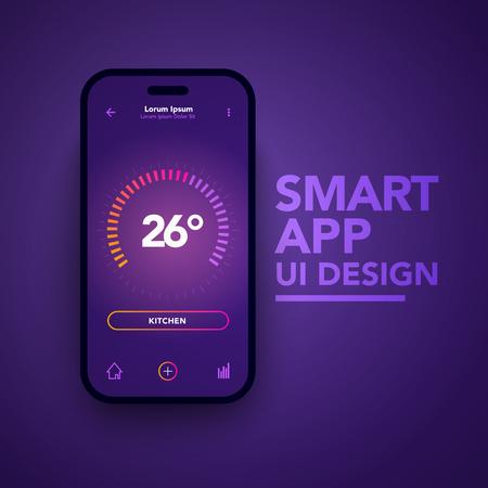 Vector Illustration Dashboard UI And UX Temperature Control Center Design. Smart Home App Template.