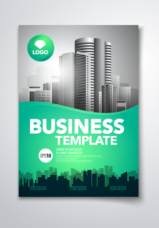 Vector illustration poster flyer pamphlet brochure cover design layout space for photo background, template in A4 size Çizim