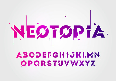 Vector illustration of abstract technology neon font and alphabet. techno effect logo designs. Typography digital space concept.