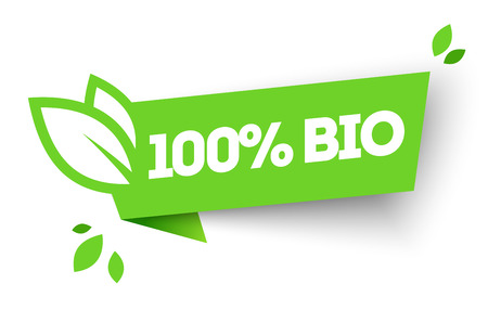 Vector Illustration 100% Organic Organic Product Label With Leaf