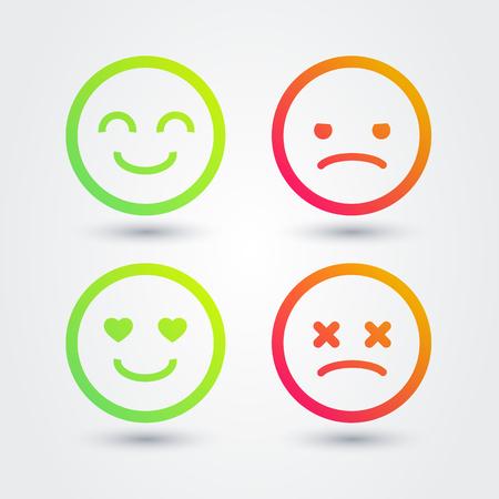 Vector Illustration Good, Bad, Positive, Negative Emoji Icons Set