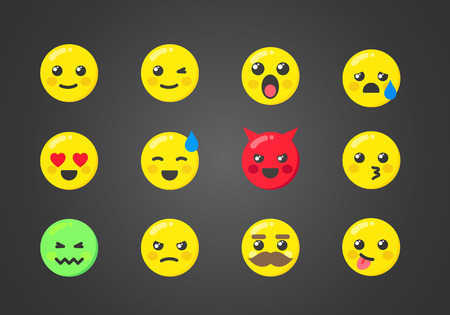 Vector Illustration Set Of Emoticons With Interesting Expressions