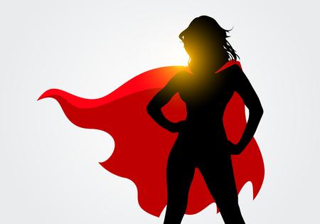 Siluetta femminile del supereroe dell'illustrazione di vettore con il capo nelle pose di azione
