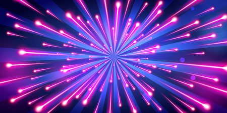 Vector illustration of abstract neon color big bang fireworks, galaxy background, speed of light