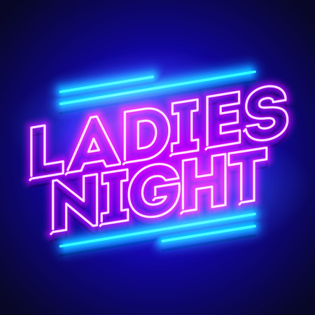 Vector illustration of ladies night neon banner Çizim