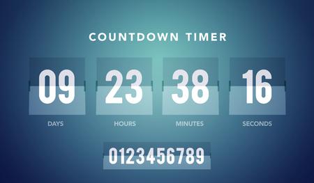Vector illustration of flip countdown clock counter timer for website
