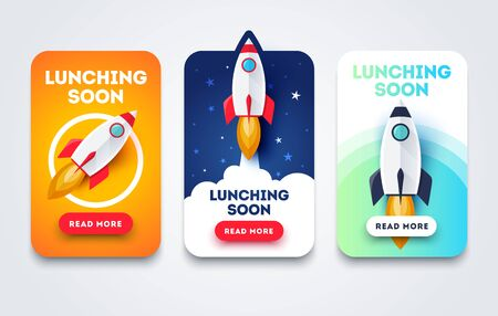 Vector Illustration Launching Soon Page Design App Interface for Smart Phones Çizim