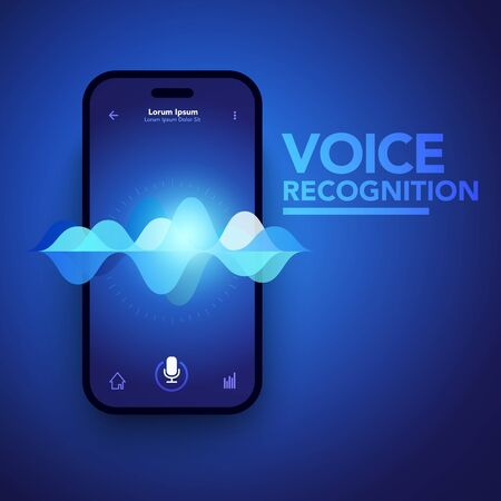 Vector Illustration Voice Recognition On Smartphone, Personal AI Assistant, Search Technology Concept.