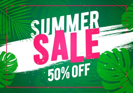 Vector illustration of summer sale offer banner, beach and jungle theme. Çizim