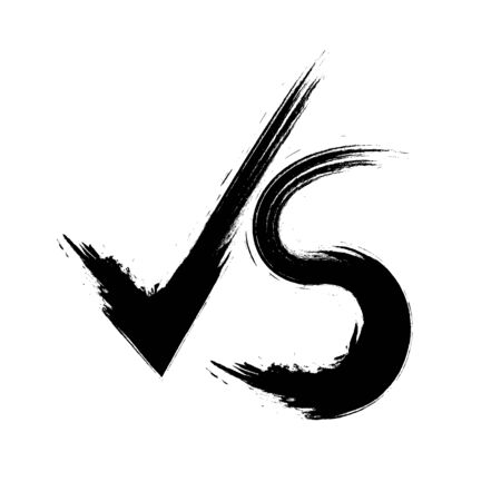 Vector illustraton VS symbol competition, Versus grunge text brush painting letters.