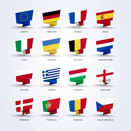 Vector illustration of origami pin flags of the world, europe set Çizim
