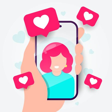 Vector illustration of dating app on the phone. Online communication and connection. Searching for romantic relationship.