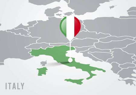 Vector illutration map of europe with highlighted italy map and italian flag pointer