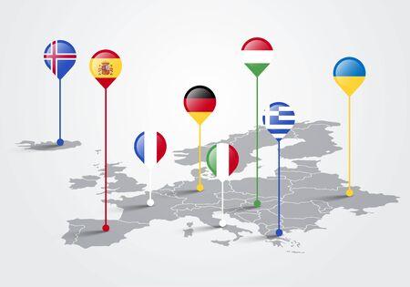 Vector illustration europe map infographic for slide presentation. Global business marketing concept. Çizim