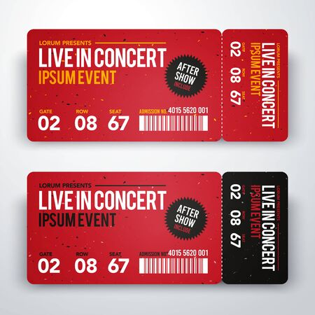 Vector illustration of concert ticket design template for party or festival