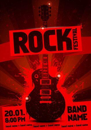 Red vintage grunge label concert poster with guitar Çizim
