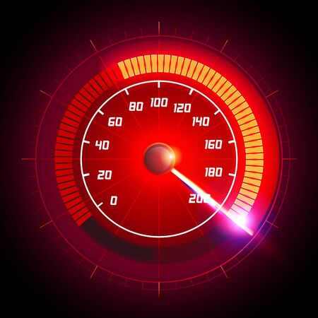 Vector speed motion illustration with fast speedometer car. Racing velocity background.
